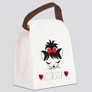 I Love Happy Cats Canvas Lunch Bag