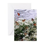 Monarchs on a Babys Breath Rest stop Greeting Card
