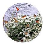 Monarchs on a Babys Breath Rest stop Round Car Mag