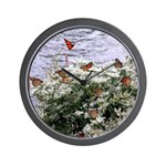 Monarchs on a Babys Breath Rest stop Wall Clock