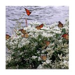 Monarchs on a Babys Breath Rest stop Tile Coaster