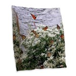 Monarchs on a Babys Breath Rest stop Burlap Throw