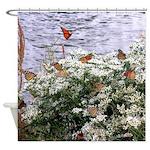 Monarchs on a Babys Breath Rest stop Shower Curtai