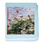 Monarchs on a Babys Breath Rest stop baby blanket