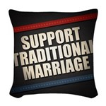 Support Traditional Marriage Woven Throw Pillow
