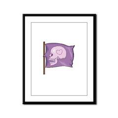 Purple Skull Heart Framed Panel Print