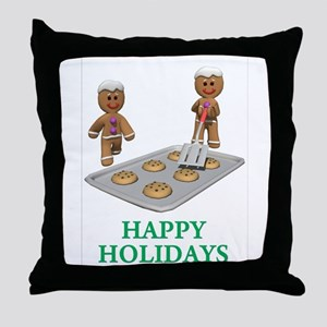 HAPPY HOLIDAYS - GINGERBREAD MEN Throw Pillow