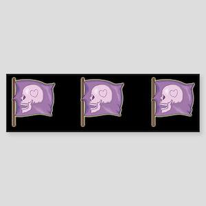 Purple Skull Heart Bumper Sticker