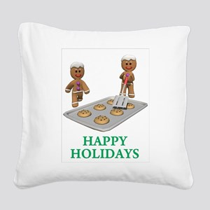 HAPPY HOLIDAYS - GINGERBREAD MEN Square Canvas Pil