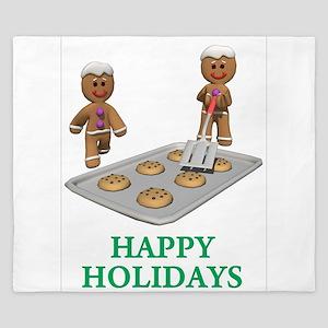 HAPPY HOLIDAYS - GINGERBREAD MEN King Duvet