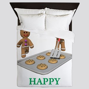 HAPPY HOLIDAYS - GINGERBREAD MEN Queen Duvet
