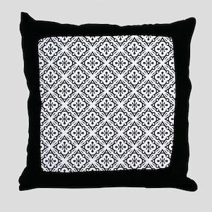 Floral Nouveau Deco Pattern Throw Pillow