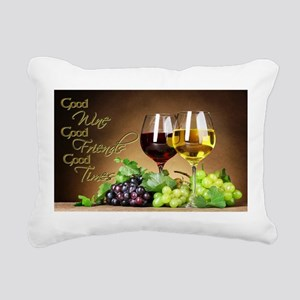 Good Wine Friends & Times Rectangular Canvas Pillo
