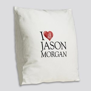 I Heart Jason Morgan Burlap Throw Pillow