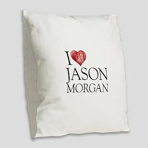 I Heart Jason Morgan Burlap Throw Pillow
