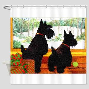 A Scotty Dog Christmas Shower Curtain