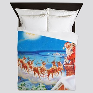 Santa Claus Up On The Rooftop Queen Duvet