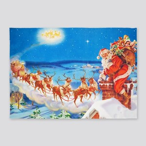 Santa Claus Up On The Rooftop 5'x7'Area Rug