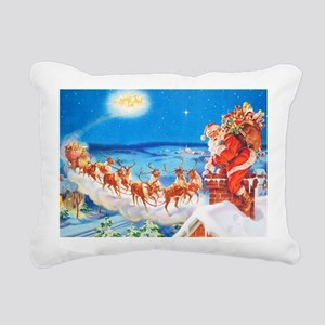 Santa Claus Up On The Ro Rectangular Canvas Pillow