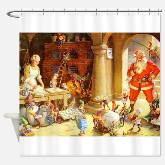 Mrs. Claus & the Elves Bake Christm Shower Curtain