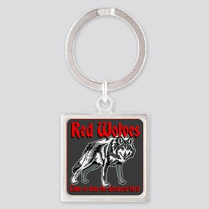 Red Wolves Square Keychain