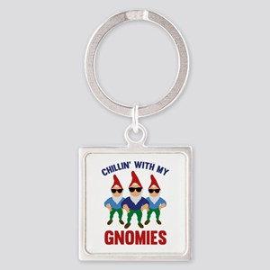 Chillin' With My Gnomies Square Keychain