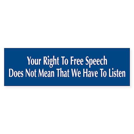 Right To Free Speech Blue Bumper Sticker