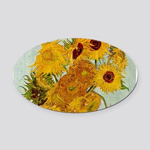 Vincent Van Gogh Sunflower Painting Oval Car Magne