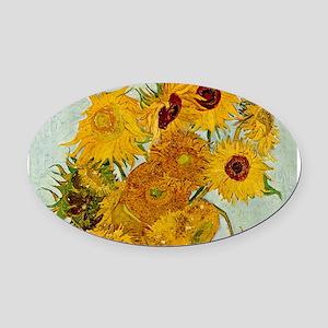 Vincent Van Gogh Sunflower Painting Oval Car Magne