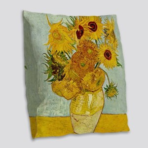Vincent Van Gogh Sunflower Painting Burlap Throw P