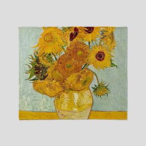 Vincent Van Gogh Sunflower Painting Throw Blanket