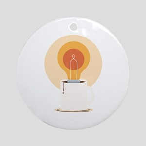 Light Bulb And Coffee Ornament (Round)