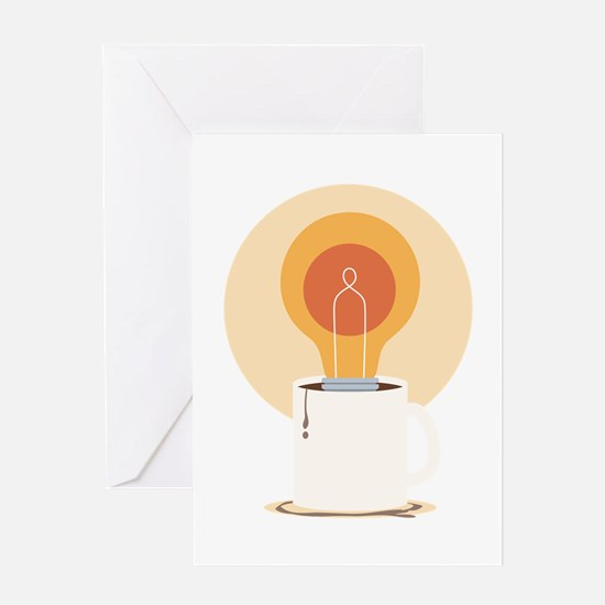 Light Bulb And Coffee Greeting Cards