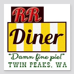 "Double RR Diner in Twin Square Car Magnet 3"" x 3"""