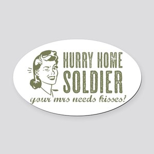 Hurry Home Soldier Oval Car Magnet