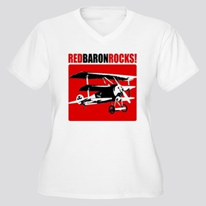Red Baron Rocks! Women's Plus Size V-Neck T-Shirt