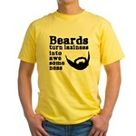 Beards: Laziness Into Awesomeness Yellow T-Shirt
