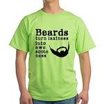 Beards: Laziness Into Awesomeness Green T-Shirt