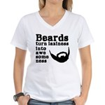 Beards: Laziness Into Aweso Women's V-Neck T-Shirt