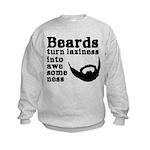 Beards: Laziness Into Awesomeness Kids Sweatshirt