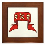 Skulls Red Banner Framed Tile