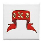 Skulls Red Banner Tile Coaster