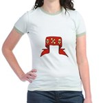 Skulls Red Banner Jr. Ringer T-Shirt