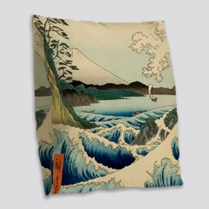 Japanese Vintage Art Sea of Satta Hiroshige Burlap
