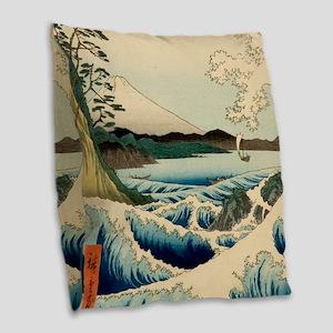 Japanese Vintage Art Sea of Satta Hiroshige Burlap
