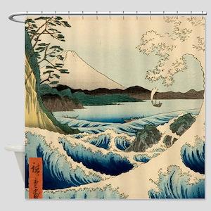 Japanese Vintage Art Sea Of Satta Shower Curtain