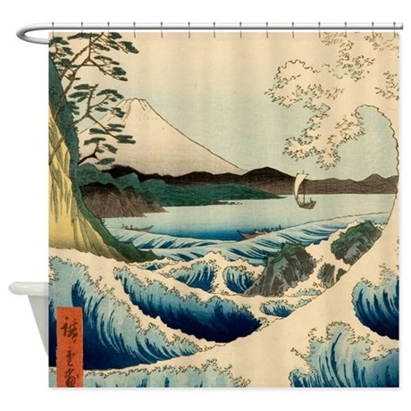 Japanese Vintage Art Sea Of Satta Shower Curtain by doodlefly