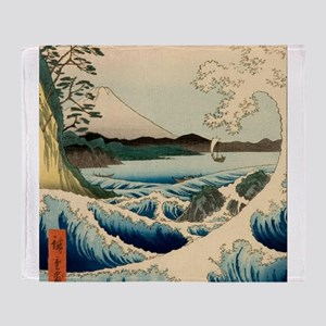 Japanese Vintage Art Sea of Satta Hiroshige Throw