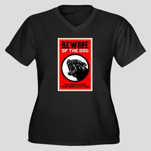 Beware Of Do Women's Plus Size V-Neck Dark T-Shirt