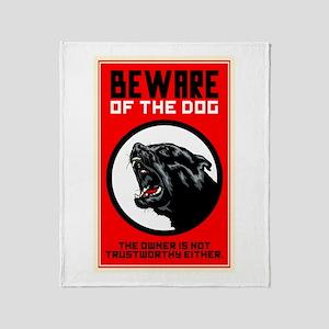 Beware Of Dog Throw Blanket
